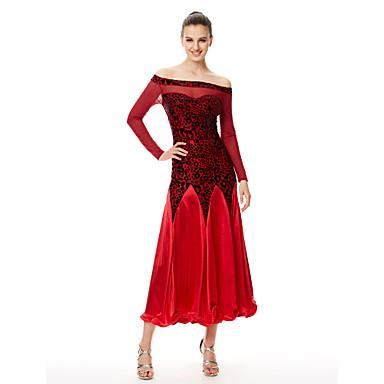 Devemos vestidos de dança latina de veludo de desempenho feminino plissado 1 peça preto / azul / fúcsia