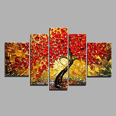 Pintura a Óleo Pintados à mão - Floral / Botânico Modern Tela de pintura / Lona esticada