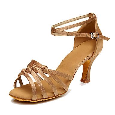 Mulheres Sapatos de Dança Latina Sintético Salto Salto Personalizado Personalizável Sapatos de Dança Marron / Azul / Nú / Interior