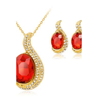 Mulheres Strass Conjunto de jóias 1 Colar 1 Par de Brincos - Euramerican Fashion Forma Geométrica Vermelho Conjunto de Jóias Colar Para
