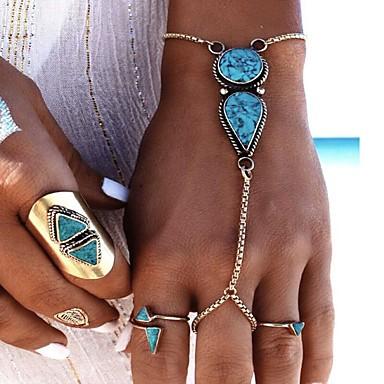 billige Motearmbånd-Dame Turkis Ringarmbånd geometriske damer Mote Legering Armbånd Smykker Sølv Til Fest Bursdag Gave Valentine Cosplay Kostumer