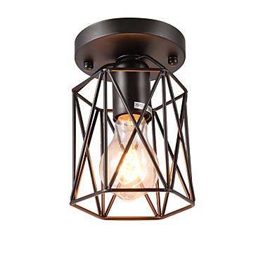 خمر صغيرة 1-light الأسود قفص معدني علوي السقف مصباح فلوش جبل غرفة الطعام المطبخ الإضاءة