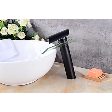 Torneira pia do banheiro - Cascata Bronze Polido a Óleo Conjunto Central Monocomando e Uma Abertura