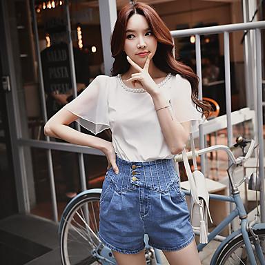 여성 솔리드 라운드 넥 짧은 소매 셔츠,섹시 스트리트 쉬크 정교한 디테일 캐쥬얼/데일리 파티/칵테일 클럽 폴리에스테르 스판덱스 여름 중간 반투명