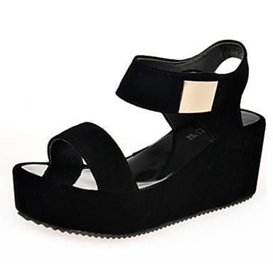 Mulheres Sapatos Couro Ecológico Verão Conforto Saltos Salto Plataforma Dedo Aberto Elástico Branco / Preto / Calcanhares