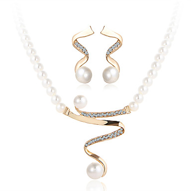 f6a5153190c51b Women's Jewelry Set Pendant Necklace / Earrings Ladies Luxury Dangling  Fashion Imitation Pearl Rhinestone Earrings Jewelry White For Wedding Party  Special ...