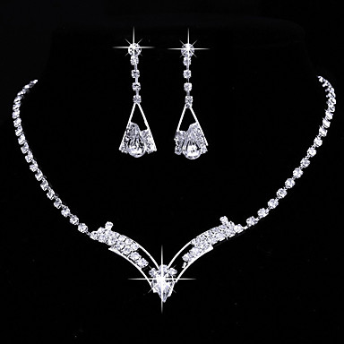 Women's AAA Cubic Zirconia Jewelry Set - Cubic Zirconia, Silver Heart Classic, Vintage, Elegant Include Drop Earrings / Choker Necklace / Bridal Jewelry Sets Silver For Wedding / Anniversary / Party