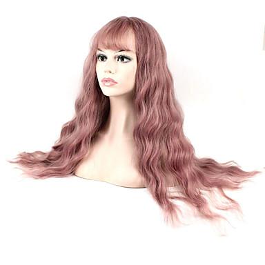 الاصطناعية الباروكات مموج شعر مستعار صناعي بنفجسي شعر مستعار للمرأة طويل دون غطاء بنفسجي