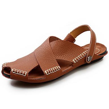 Homens sapatos Pele Verão Conforto Sandálias Caminhada Rendado para Casual Branco Preto Castanho Claro