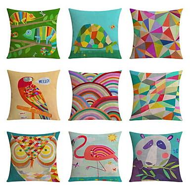 9 pçs Linho almofada do sofá Almofada de Vigem Almofada de Corpo Fronha Almofada Inovadora, Geométrica Estampa Animal Estampas Abstratas