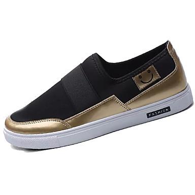 Homens sapatos Tecido Primavera Outono Conforto Mocassins e Slip-Ons Caminhada Elástico para Casual Preto Preto e Dourado Branco/Preto