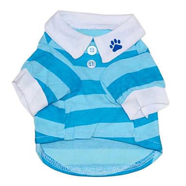 Kedi Köpek Tişört Köpek Giyimi Çizgi Kırmzı Mavi Pamuk Kostüm Evcil hayvanlar için Erkek Kadın's Günlük/Sade
