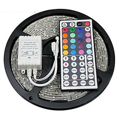 billige LED Strip Lamper-zdm 5m vanntett 300 x 2835 rgb led strips lett fleksibel og ir 44key fjernbetjening linkbar selvklebende fargeskiftende