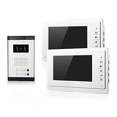 visão noturna duas famílias com entrada CMOS câmera de 2 monitores de 7 polegadas TFT vídeo porteiro tela LCD para apartamento