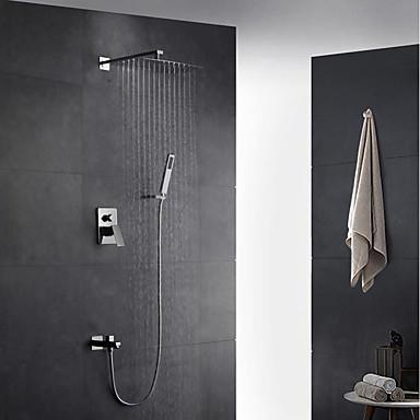 Moderne Art déco/Retro Modern Wandmontage Regendusche Handdusche inklusive Mit ausziehbarer Brause Messingventil Zwei Löcher Einzigen