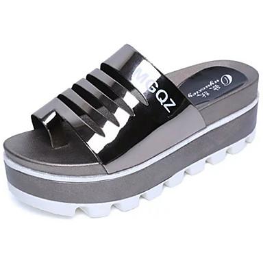 Naisten Kengät PU Kevät Kesä Creepers Sandaalit Tasapohja Avokkaat Split Joint varten Puku Valkoinen Musta Hopea Vaaleanruskea