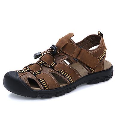 للرجال جلد ربيع / صيف مريح صنادل أحذية الماء بني فاتح