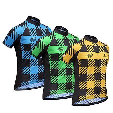 JESOCYCLING Homens Manga Curta Camisa para Ciclismo - Amarelo Verde Azul Moto Camisa/Roupas Para Esporte, Secagem Rápida, Respirável,
