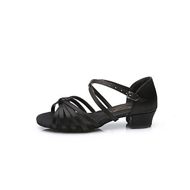 baratos Sapatos de Samba-Sapatos de Dança Couro Envernizado Sapatos de Dança Latina Laço / Lantejoulas / Presilha Sandália / Salto Sem Salto Personalizável Prata / Camel / Leopardo / Espetáculo