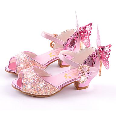 hesapli Kız Çocuk Ayakkabıları-Genç Kız Mikrofiber Sandaletler Küçük Çocuklar (4-7ys) / Büyük Çocuklar (7 yaş +) Rahat / Yenilikçi / Çiçekçi Kız Ayakkabıları Yürüyüş Fiyonk Beyaz / Mavi / Pembe Yaz / Sonbahar / Düğün / Burnu Açık