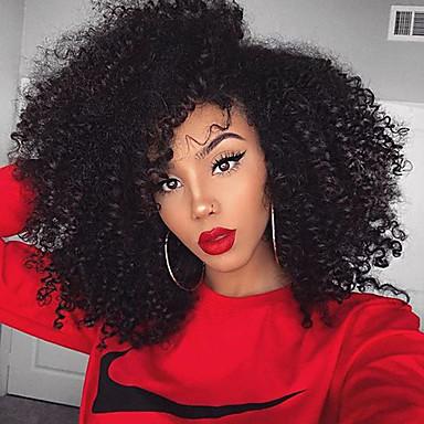 povoljno Perike i ekstenzije-Ljudska kosa Netretirana  ljudske kose 360 Frontalni Perika stil Brazilska kosa Kinky Curly Perika 180% Gustoća kose s dječjom kosom Prirodna linija za kosu Afro-američka perika Za crnkinje