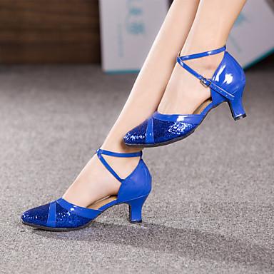 baratos Shall We® Sapatos de Dança-Mulheres Sapatos de Dança Moderna Recortes Salto Salto Personalizado Personalizável Vermelho / Azul / Rosa claro / Interior / EU39