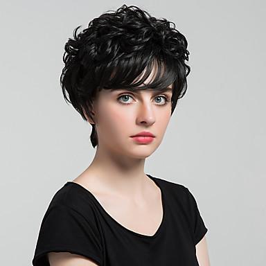 Perucas de cabelo capless do cabelo humano Cabelo Humano Ondulado Natural Clássico Alta qualidade Fabrico à Máquina Peruca Diário