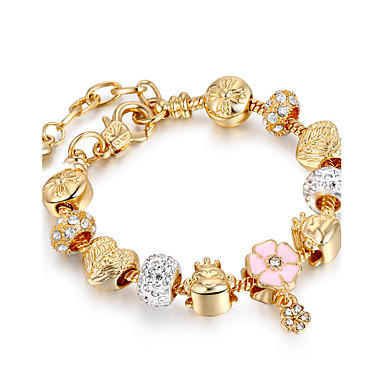 Mulheres Pulseiras Strand - Chapeado Dourado Amigos Luxo, Com Elasticidade, Fashion Pulseiras Dourado Para Natal / Presentes de Natal / Casamento