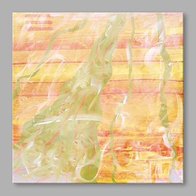 Maalattu Abstrakti Neliö, Abstrakti Moderni/nykyaikainen Kangas Hang-Painted öljymaalaus Kodinsisustus 1 paneeli
