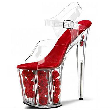 Mulheres Sapatos PVC Primavera Verão Sapatos clube Tênis com LED Saltos Salto Agulha Plataforma Salto Alto de Cristal Heel translúcido
