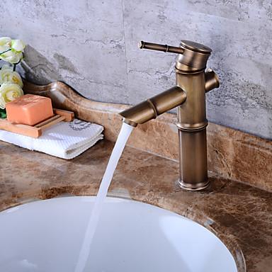 Moderna Válvula Cerâmica Uma Abertura Cobre Envelhecido, Torneira pia do banheiro