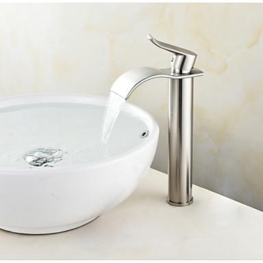 Conjunto Central Cascata Válvula Cerâmica Uma Abertura Níquel Escovado, Torneira pia do banheiro