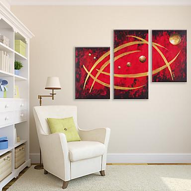 Pintados à mão Abstrato Panorâmico vertical, Artistíco Abstracto Tela de pintura Pintura a Óleo Decoração para casa 3 Painéis