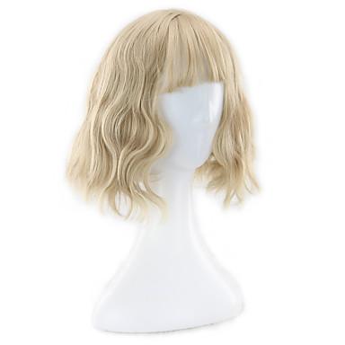 Damen Synthetische Perücken Kappenlos Kurz Blond Bob-Frisur mit Mittelscheitel Bubikopf Natürliche Perücke Kostüm Perücken