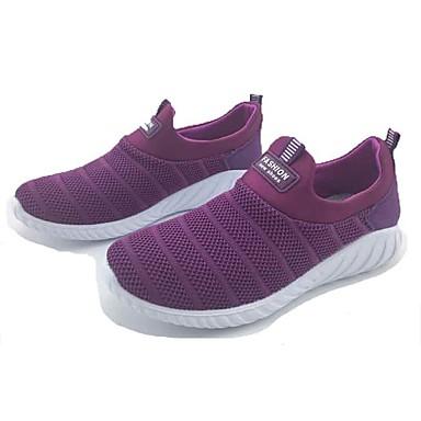 Mulheres Sapatos Tecido Primavera Outono Conforto Tênis Caminhada Sem Salto Ponta Redonda para Casual Ao ar livre Preto Cinzento Roxo
