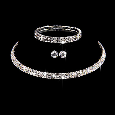 Women's AAA Cubic Zirconia Jewelry Set - Cubic Zirconia, Silver Simple Style, Fashion, Elegant Include Bracelet Bangles / Choker Necklace / Earrings Silver For Wedding / Party / Anniversary