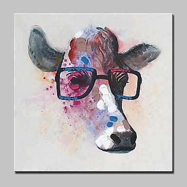 Pintura a Óleo Pintados à mão - Animais Abstracto / Moderno / Contemporâneo Tela de pintura / Lona esticada