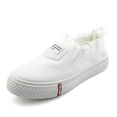 Damen Loafers & Slip-Ons Komfort Stoff Frühling Sommer Normal Walking Komfort Flacher Absatz Weiß Schwarz 2,5 - 4,5 cm