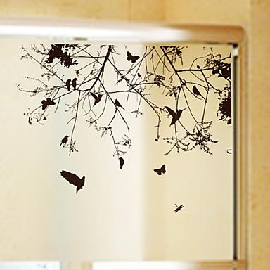 Árvores/Folhas Moderna Adesivo de Janela, PVC/Vinil Material Decoração de janela Sala de Jantar Quarto Escritório Quarto das Crianças