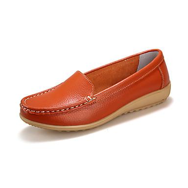 Mulheres Sapatos Couro Verão Outono Conforto Mocassins e Slip-Ons Salto Baixo Ponta Redonda para Diário Casual Branco Preto Laranja