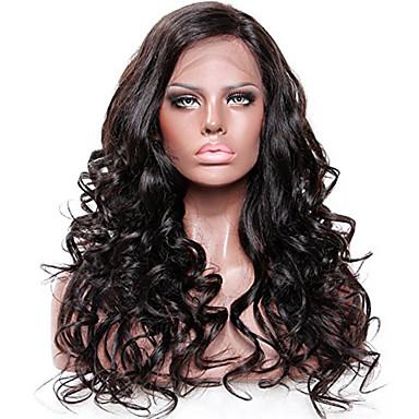 Remy-hius Lace Front Peruukki Syvät aallot 130% Tiheys 100% käsinsidottu Afro-amerikkalainen peruukki Luonnollinen hiusviiva Keskiosa