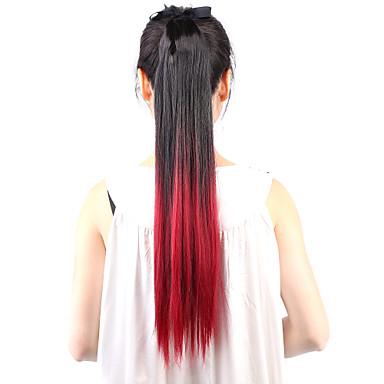 Rabos-de-Cavalo Cabelo Sintético Pedaço de cabelo Alongamento Liso / Reto / Âmbar