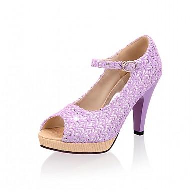 Mulheres Sapatos Courino Couro Ecológico Verão Outono Conforto Inovador Sapatos formais Sandálias Caminhada Salto Robusto Peep Toe Ponta