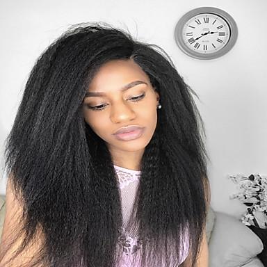 Remi-Haar Vollspitze Perücke Glatt Kinky Glatt 130% Dichte 100 % von Hand geknüpft Afro-amerikanische Perücke Natürlicher Haaransatz Kurz