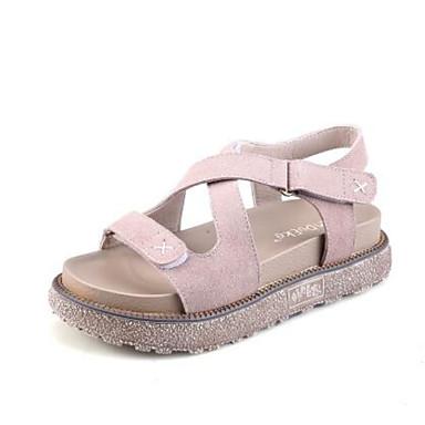 Damen Schuhe Mikrofaser PU Frühling Gladiator Creepers Komfort Sandalen Für Normal Weiß Leicht Rosa Khaki