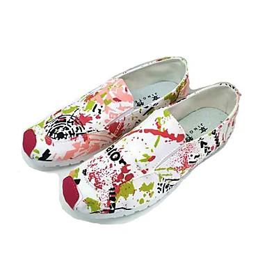 Mulheres Sapatos Tecido Primavera Verão Conforto Mocassins e Slip-Ons Sem Salto Ponta Redonda Elástico para Casual Ao ar livre Azul Rosa