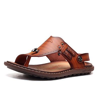 Herren Schuhe Kunstleder Sommer Zehenring Leuchtende Sohlen Sandalen Für Normal Blau Hellbraun Khaki