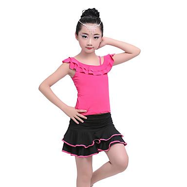 Dança Latina Roupa Crianças Espetáculo Algodão Fibra de Leite Pregueado Franzido Manga Curta Natural Saias Blusa
