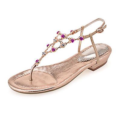 Naiset Sandaalit Nahka Kevät Kulta Hopea Tasapohja