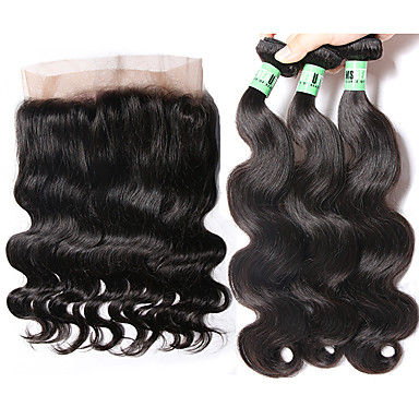 Cabelo Malaio Onda de Corpo Cabelo Humano Trama do cabelo com Encerramento Tramas de cabelo humano Macio Extensões de cabelo humano